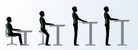ergonomisch. Höhenverstellbare Schreibtisch oder Tisch Sitzen und Stehen Pose eines Mannes. Sattelstuhl