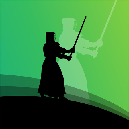 dan: Kendo fighter in traditional clothes silhouette