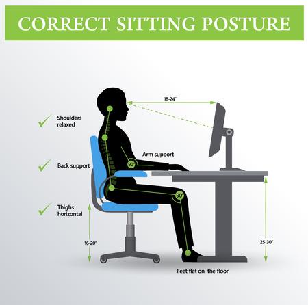 Ergonomía. Correcta postura sentada Foto de archivo - 69476311