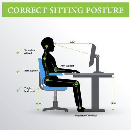 Ergonomics. Correct sitting posture 矢量图像
