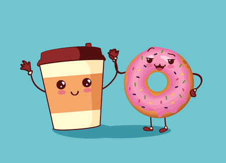 Donut and coffee friends characters icon. With faces and hands