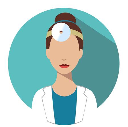 Doctor web icon. Otorhinolaryngologist medical avatar in flat style illustration Illustration