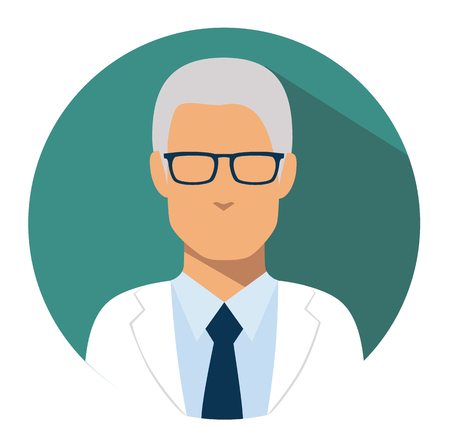 Doctor web icon. head physician medical avatar in flat style illustration Illustration