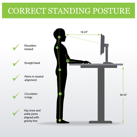 ergonomic. Correct standing posture on height adjustable desk or table sitting and standing pose of a man. Healthy sitting pose