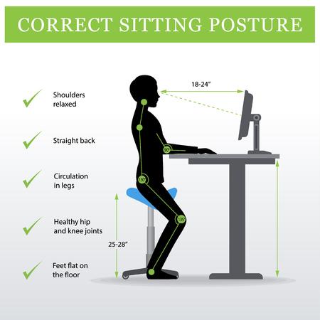 ergonómico. Silla de montar de la silla de montar y escritorio o tabla ajustable de la altura que se sienta y que coloca de un hombre. Pose de sesión saludable Ilustración de vector