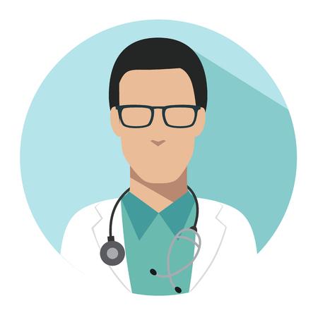 Doctor web icon. Therapist medical avatar in flat style illustration Illustration