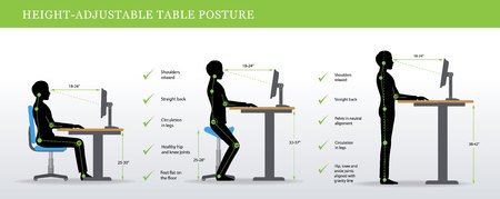 Height Adjustable and Standing Desks correct poses. Ergonomics healthy postures.