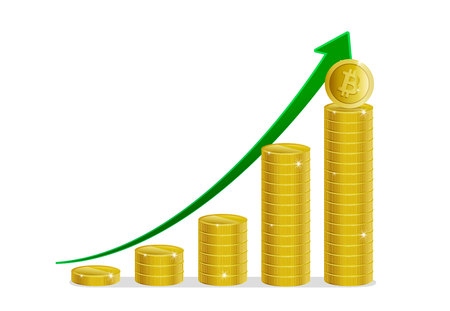 Bitcoin financial growth. Stacks of gold coins with bitcoin and arrow showing profits and gains. Vector image Stock Photo