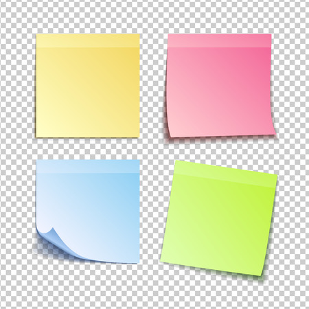 A paper set of isolated colorful sticky notes on transparent background, vector illustration