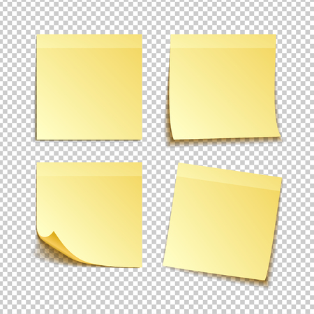 paper set of isolated yellow sticky notes on transparent background, vector illustration
