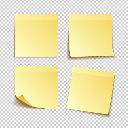 papieren set van geïsoleerde gele plaknotities op transparante achtergrond, vectorillustratie