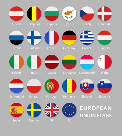 Rounded European Union flags button set with names of each country