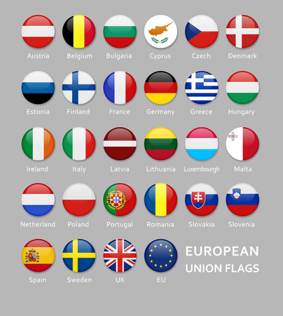Glossy Rounded European Union flags button set with names of each country Illustration