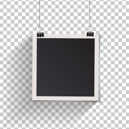 Blank retro vintage photo frame set hanging on a clip. Realistic detailed photo icon design template. Vector isolated on transparent background. Illustration
