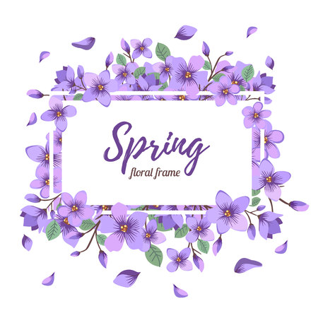 Floral summer or spring frame template with Spring text 일러스트