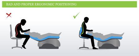 Infeliz y negativo pose sentada para la ilustración del dentista . Foto de archivo - 98086506