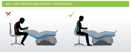 Wrong and correct sitting pose for dentist illustration.