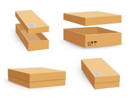 Carton packaging box. Brown delivery set of different sized packages with postal signs of fragile vector illustration. Set of closed and open cardboard boxes on white background. Vectores