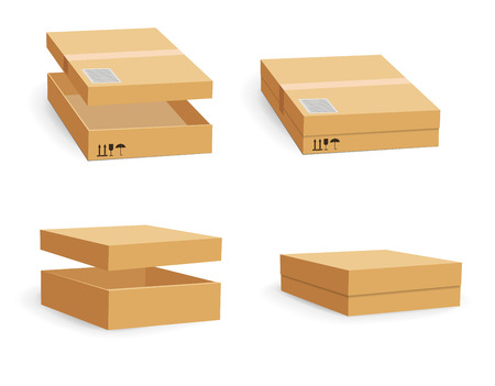 Carton packaging box. Brown delivery set of different sized packages with postal signs of fragile vector illustration. Set of closed and open cardboard boxes on white background. Foto de archivo
