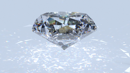 White diamond dispersion 3D render. Crystal clean gem. Round diamond cuted with light rainbow on surface. Silver bright jewelry gem stone.