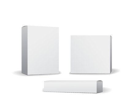 Set of small white cardboard boxes mockups. Template for product packaging. Opened box or closed. Vector illustration Vectores