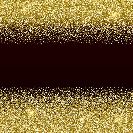 Gold glittery frame with dark background. Sparkle golden vector background. Seamless pattern