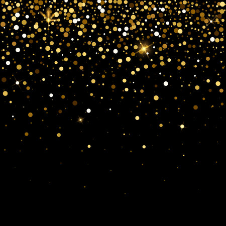 Golden glitter particles effect for luxury greeting rich background. Sparkling texture. Vector star dust sparks on transparent background. Illustration