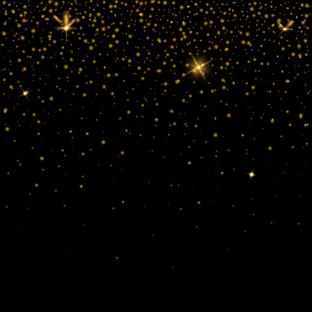 Golden glitter particles effect for luxury greeting rich background. Sparkling texture. Vector star dust sparks on transparent background. Vectores