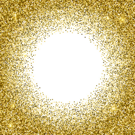 Gold glittery round frame with white background. Sparkle golden vector background. Seamless pattern