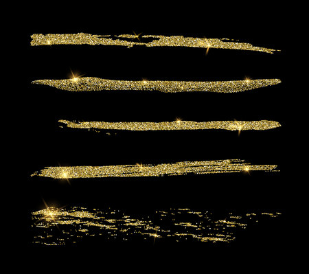 Set of golden glitter line brushes. Good for wedding, birthday party, fashion, rich, luxury design. Vector element Vectores