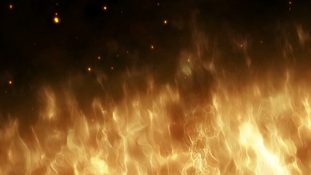 Realistic wall of fire with hot sparks rise in the night sky. Burning red flame on the black background, light and life. Fiery glowing flying away particles over black background. 4k 3D animation Foto de archivo