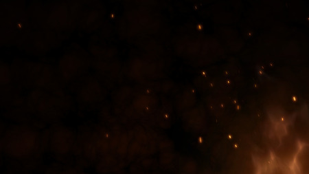 Realistic large fire with hot sparks rise in the night sky. Burning red flame on the black background, light and life. Fiery glowing flying away particles over black background. 4k 3D illustration