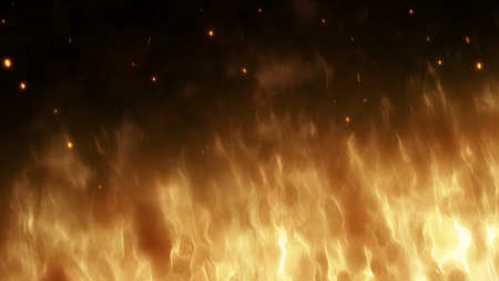 Realistic wall of fire with hot sparks rise in the night sky. Burning red flame on the black background, light and life. Fiery glowing flying away particles over black background.