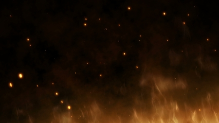 Realistic large fire with hot sparks rise in the night sky. Burning red flame on the black background, light and life. Fiery glowing flying away particles over black background.