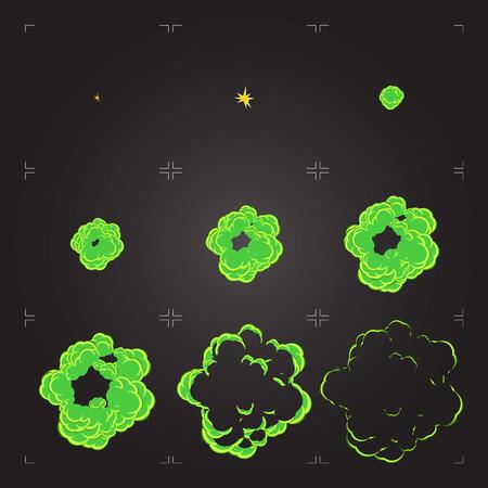 Feuille de sprite d'explosion chimique plate. Cadre de dessin animé d'une animation de poison bang. Élément de conception isolé pour jeu ou animation Vecteurs