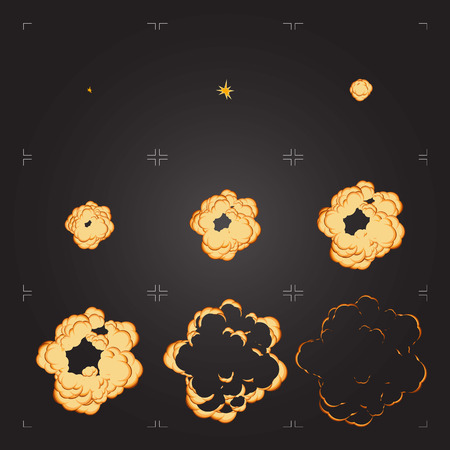 Flat explosion sprite sheet. Cartoon frames of a bang animation. Isolated design element for game or animation