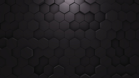 Abstract Hexagon Geometric texture. Black Surface illustration. Dark bright and clean hexagonal grid pattern Background, randomly wave in pure black wall. Foto de archivo