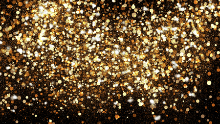 Golden glitter dust on black background. Sparkling splash illustration with gold powder. Bokeh glowing magic mist effect. Glamour stylish fashion backdrop
