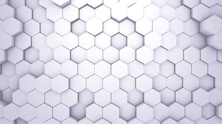 Abstract Hexagon Geometric texture. White Surface illustration. Light bright and clean hexagonal grid pattern Background, randomly wave in pure white wall.