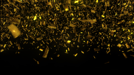 Golden confetti fall on black background. Party shiny rain. Grainy abstract texture design element. Glamour glitters can be used for christmass or other celebration greetings. 3D illustration