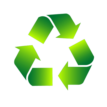 Green triangular eco recycle sign icon for infographics. Vector illustration
