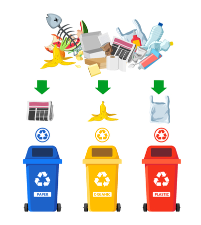 Rubbish bins for recycling different types of waste. Garbage containers for trash sorted by plastic, organic, e-waste, metal, glass, paper. Vector illustration