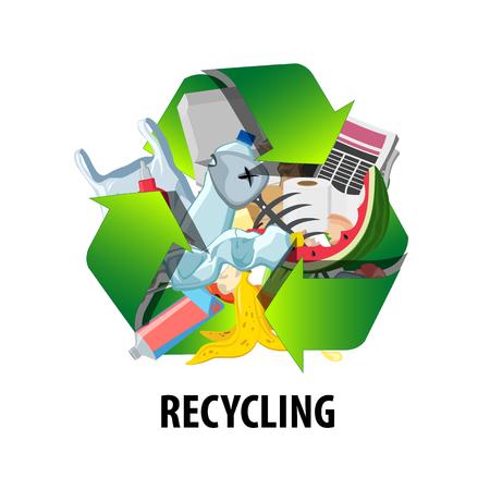Etichetta di riciclaggio con diversi tipi di rifiuti. Ridurre il segno di inquinamento. Illustrazione vettoriale Vettoriali