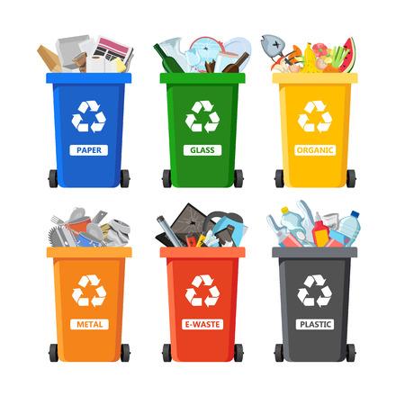 Poubelles pour le recyclage de différents types de déchets. Conteneurs à ordures pour déchets triés par plastique, organique, déchets électroniques, métal, verre, papier. Illustration vectorielle