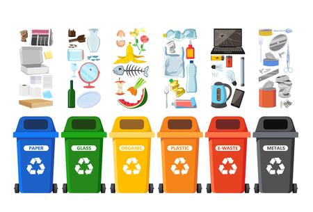 Bidoni della spazzatura per il riciclaggio di diversi tipi di rifiuti. Contenitori per rifiuti ordinati per plastica, organico, rifiuti elettronici, metallo, vetro, carta. Illustrazione vettoriale Vettoriali