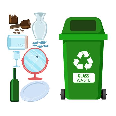 Mülleimer zum Recycling verschiedener Abfallarten. Müllcontainer für Glasmüll. Vektor-Illustration
