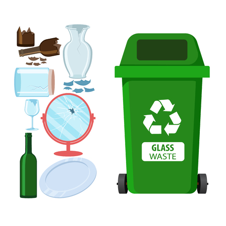 Rubbish bin for recycling different types of waste. Garbage container for glass trash. Vector illustration