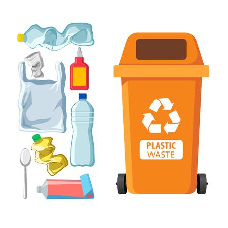 Poubelle pour le recyclage de différents types de déchets. Conteneur à ordures pour les déchets en plastique. Illustration vectorielle