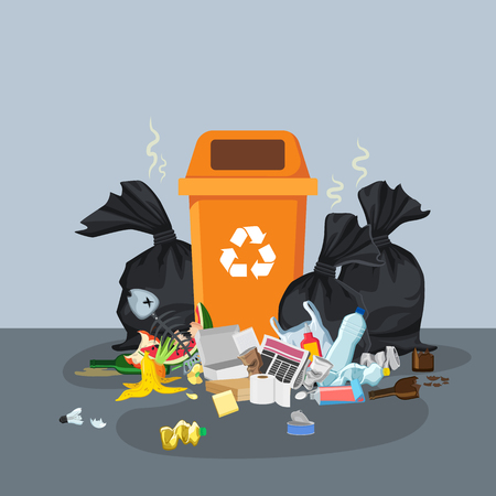 Garbage dump with rubbish bin for recycling. Different types of waste. Trash laying on the street. Environmental conservation vector infographics