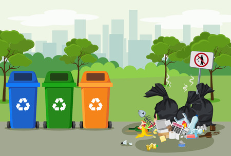 Garbage dump in park with rubbish bin for recycling near it. Different types of waste. Trash laying on the street in town. Environmental conservation vector infographics Stock Illustratie